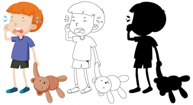 Niño llorando y sosteniendo un oso de peluche con su contorno y silueta