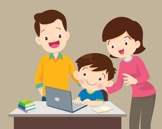 Niño y madre sentada con laptop