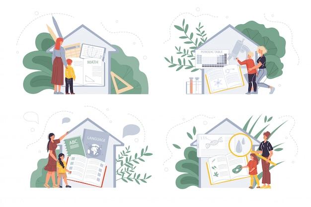 Niño y maestro por casa con elementos escolares dentro del conjunto