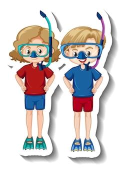Un niño con máscara de snorkel pegatina de personaje de dibujos animados