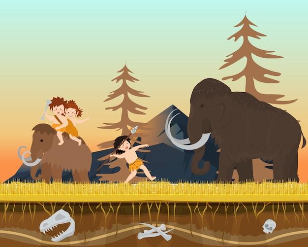 Niño masculino del carácter que caza al hombre enorme del tiempo prehistórico del mamut salvaje con la lanza, ilustración plana del vector. antigua tribu de caza