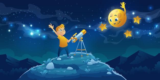 Niño mira en telescopio, niño curioso agitando la mano a la amigable luna y estrellas en el oscuro cielo nocturno con vía láctea.