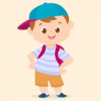 Niño con mochila y sombrero.
