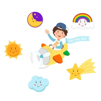 Niño montando avión en el cielo y el conjunto de símbolos, ilustración aislada