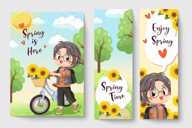 Niño montando una bicicleta en la ilustración de tema de primavera para obras de arte de moda para niños