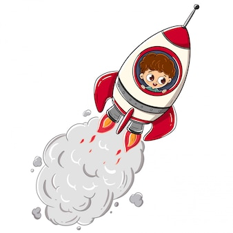 Niño montando un cohete viajando por el espacio