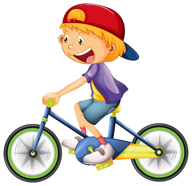 Un niño montando un personaje de dibujos animados en bicicleta aislado en blanco