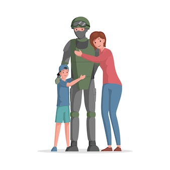 Niño y mujer, abrazar, hombre, en, munición militar