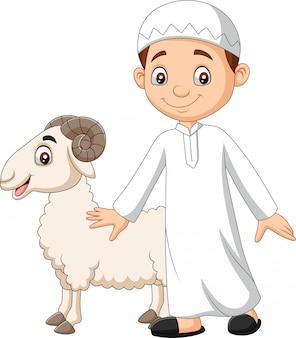 Niño musulmán de dibujos animados sosteniendo una cabra