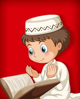 Niño musulmán leyendo del corán