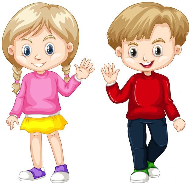 Niño y niña agitando las manos