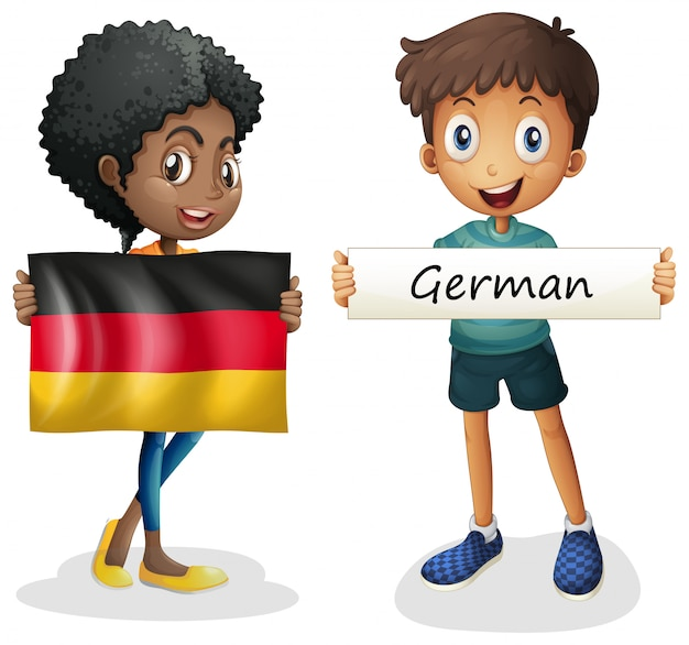 Niño y niña con la bandera de alemania