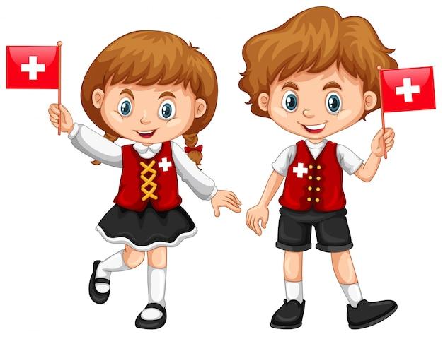 Niño y niña con la bandera de suiza