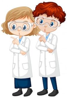 Niño y niña en bata de ciencia en ilustración aislada