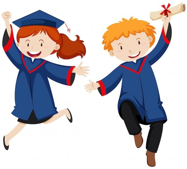 Niño y niña en bata de graduación