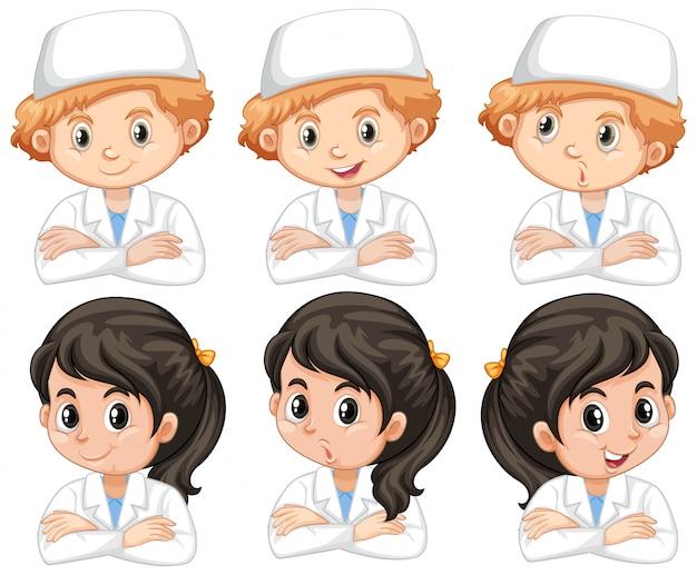 Niño y niña en bata de laboratorio con diferentes expresiones faciales