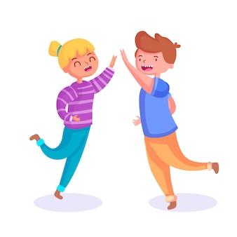 Niño y niña dando cinco alta ilustración