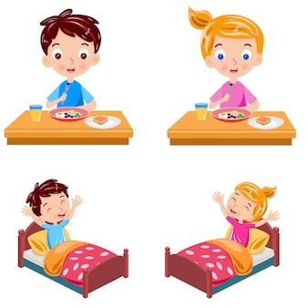 Niño y niña se despiertan y desayuno vector