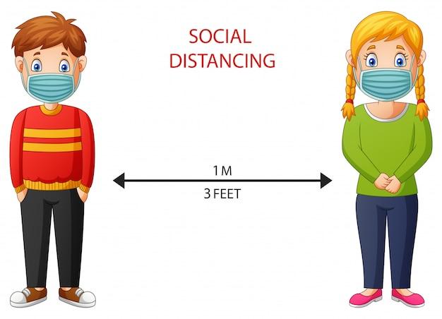 Niño y niña de dibujos animados mantienen distancia en público proteger contra virus. ilustración