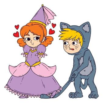 Niño y niña en disfraces de halloween princesa y gato.