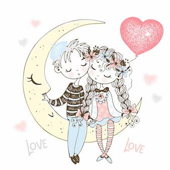 Un niño y una niña enamorados están sentados en la luna con un globo en forma de corazón.