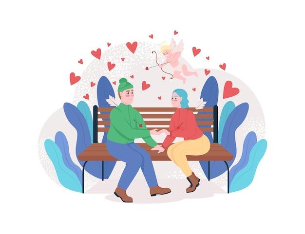 Niño y niña enamorarse banner web, cartel.