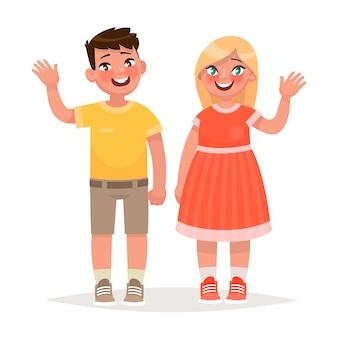 Niño y niña están agitando las manos. en estilo de dibujos animados