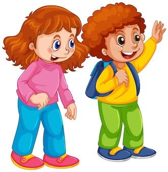 Niño y niña estudiante de carácter