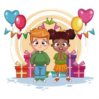 Niño y niña en la fiesta de cumpleaños