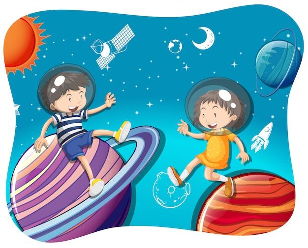 Niño y niña flotando en el espacio.