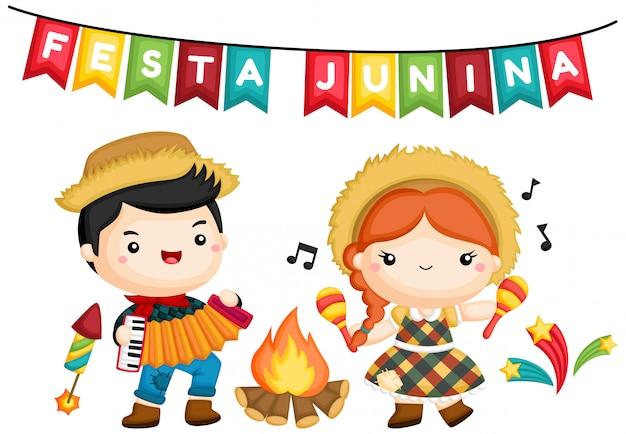 Una de un niño y una niña en la fogata durante la festa junina
