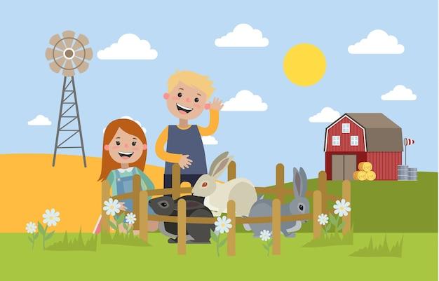 Niño y niña en la granja mirando conejos sentados en la hierba. los niños sonríen y juegan con conejitos. paisaje de verano en el país. ilustración