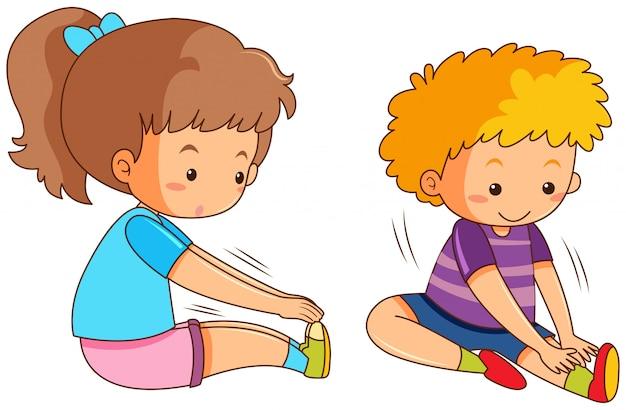 Niño y niña haciendo ejercicio