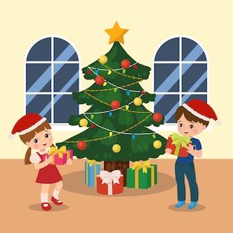 Niño y niña intercambian presente. situación de la fiesta de navidad. feliz navidad. clip art de niños. regalos bajo el árbol de navidad. vector de dibujos animados de estilo plano.