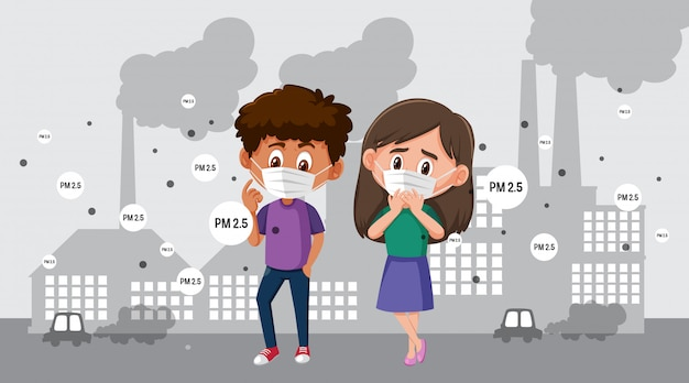 Niño y niña con máscara en la ciudad con contaminación del aire