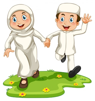 Niño y niña musulmanes