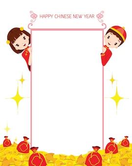 Niño y niña en pancarta, celebración tradicional, china, feliz año nuevo chino