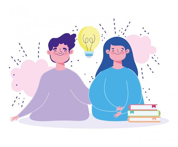 Niño y niña personajes pila de libros idea estudiar