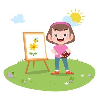 Niño niña pintando