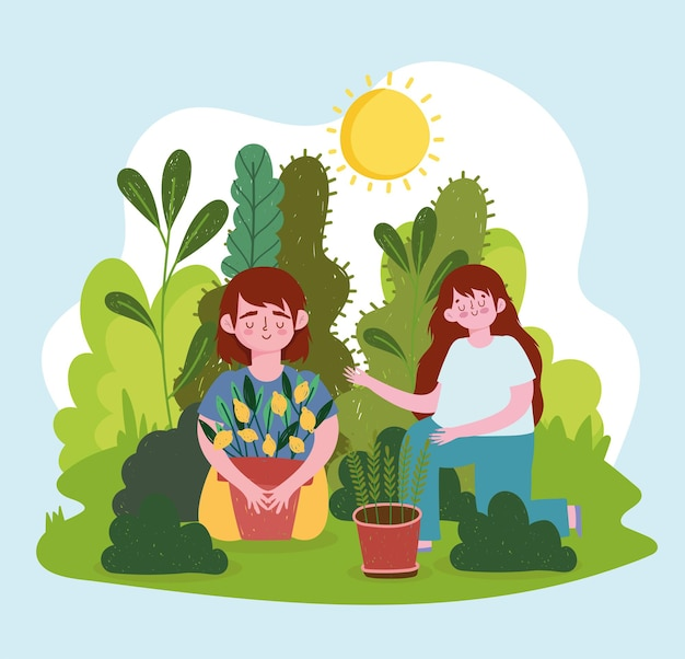 Niño y niña con plantas