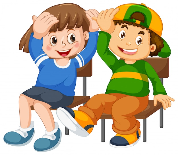 Niño y niña se sientan en la silla