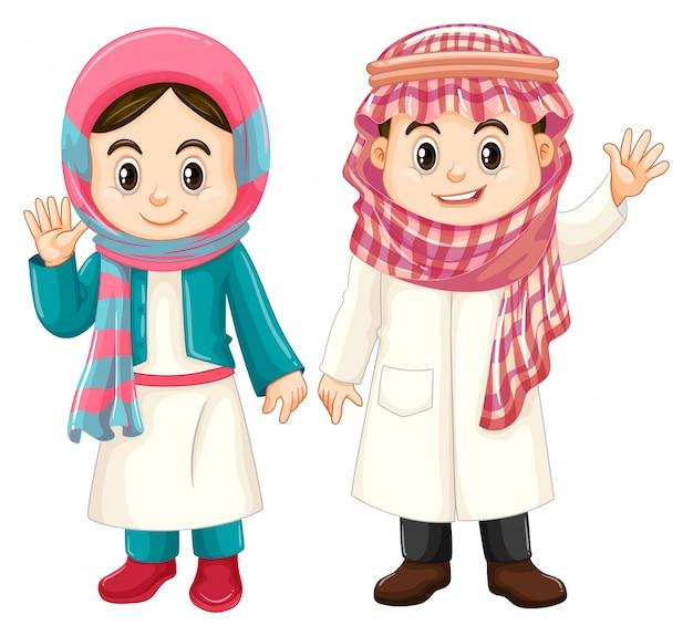 Niño y niña en traje de kuwait