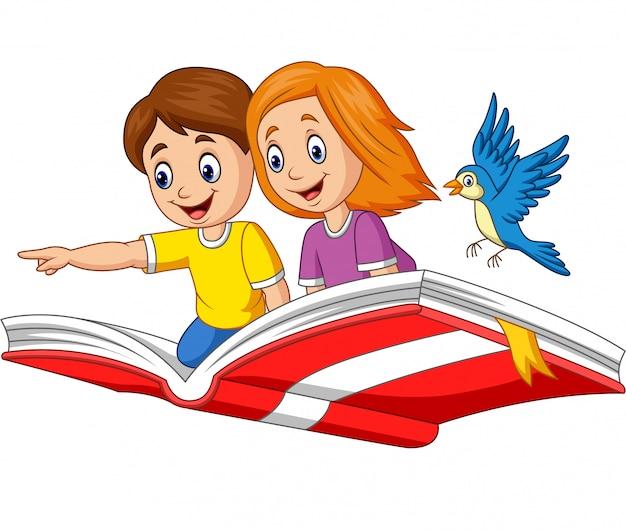 Niño y niña volando en un libro