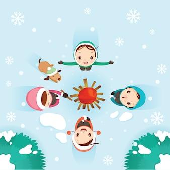 Niño, niñas y perro alrededor de una fogata, nieve cayendo, actividades de invierno