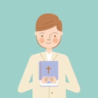 Niño niño con biblia