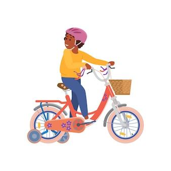 Niño, niño, bicicleta, con, ruedas adicionales, plano, vector, ilustración, aislado