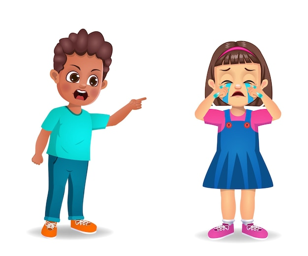 Niño niño enojado con niña niño y hacerla llorar