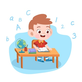 Niño niño estudio ilustración