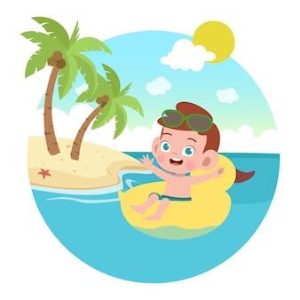 Niño niño jugando en la ilustración de la playa