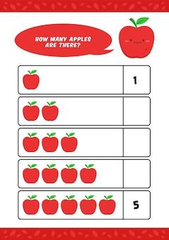 Niño, niños, jardín de infantes, educación en el hogar, contar, aprender, hoja de trabajo, con, lindo, manzana, fruta, ilustración, plantilla